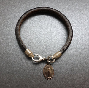 BRACELET DARK BROWN STITCH LEATHER