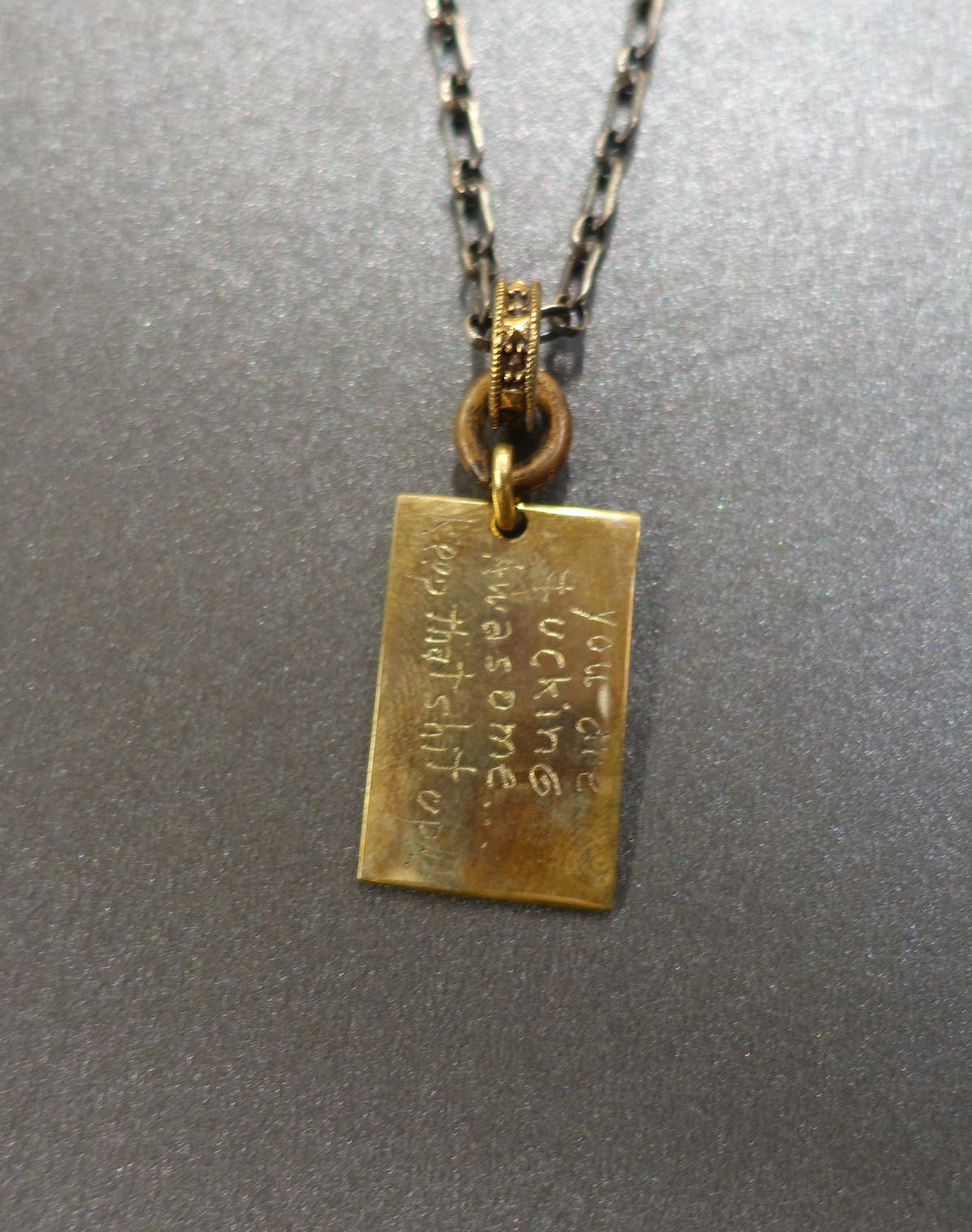 NECKLACE  BRONZE QUOTE TAG