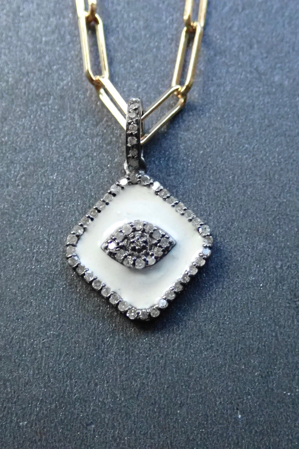 WHITE ENAMEL EVIL EYE DIAMONDS PENDANT