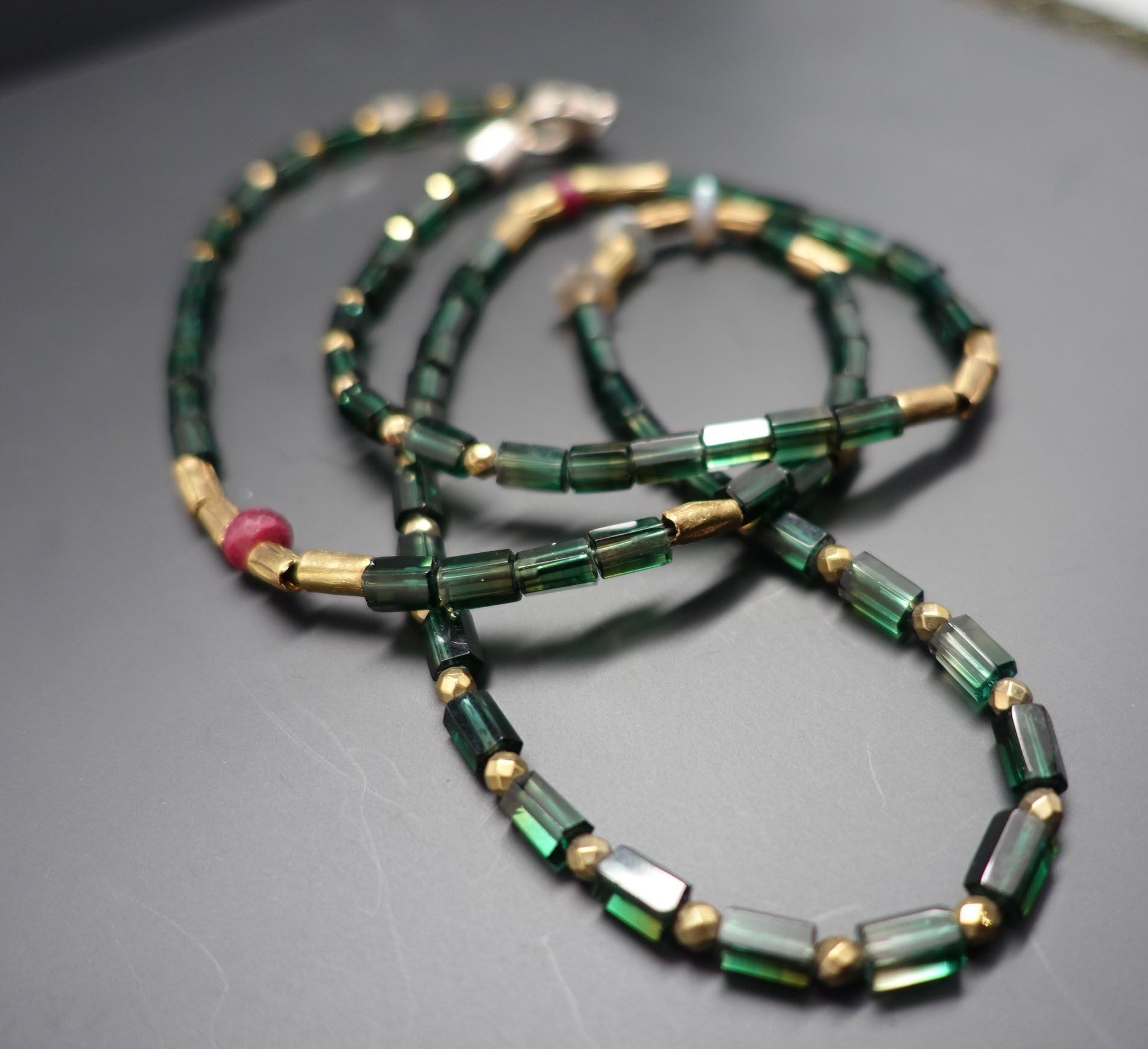faceted winter strand green multi onyx necklace