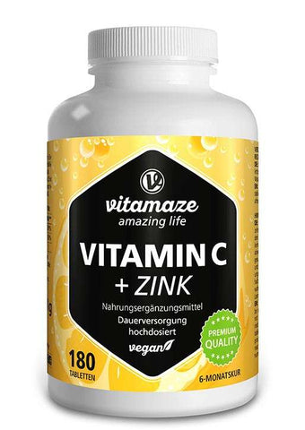 Vitamin C 1000 mg hochdosiert + Zink vegan - 180 Tabletten