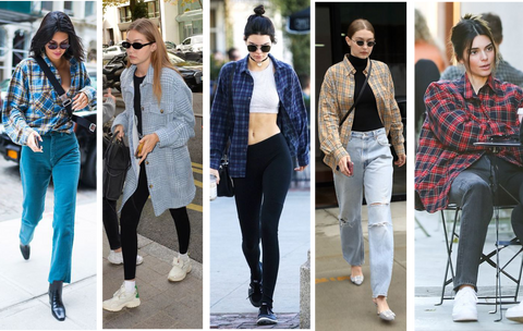 Oversized checkered shirts on celebs