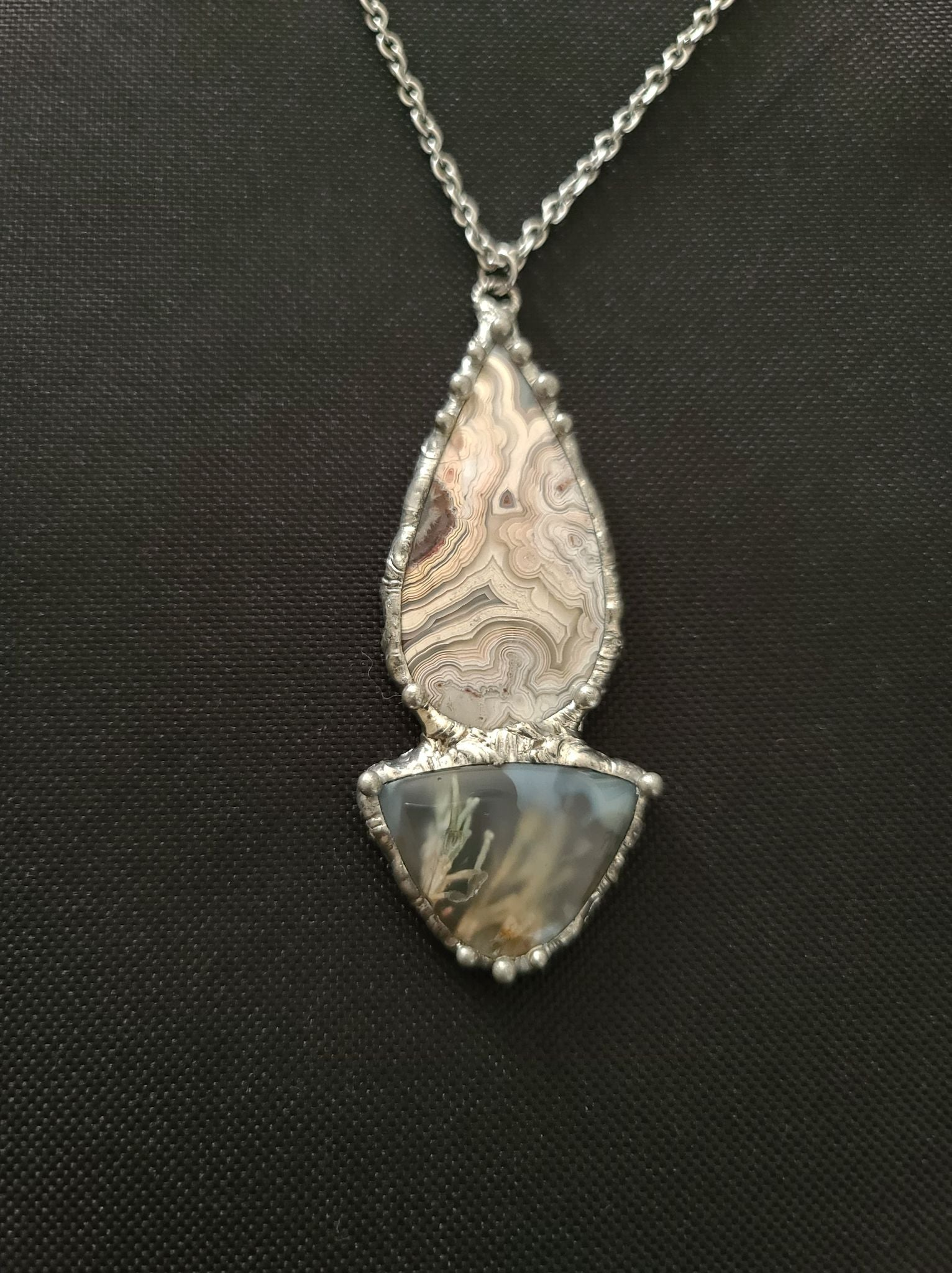 Gemstone Necklace... Crazy Lace Agate with Moss Agate