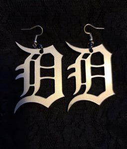 Large Detroit D Earrings in Silver Matte Acrylic