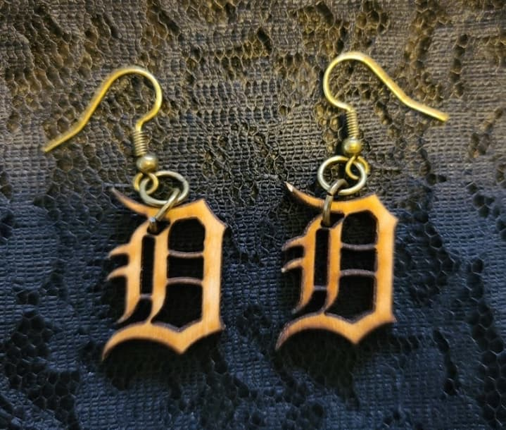 Small Detroit D Earrings in Wood