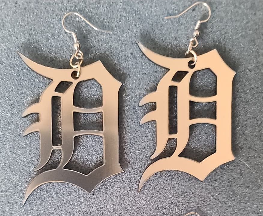 Large Detroit D Earrings in Shiny Silver Acrylic