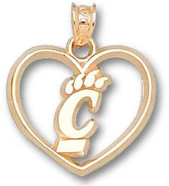 "UC030-14ky Yellow Gold- UNIV OF CINCINNATI PIERCED NEW C PAW HEART - 5/8"" - Lannan Jewelry"