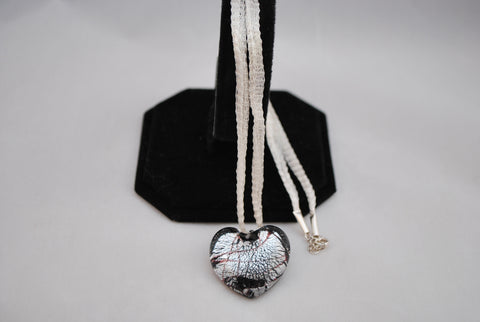 Mesh necklace sterling silver with Italian gla.925 Sterling Silver heart - Lannan Jewelry