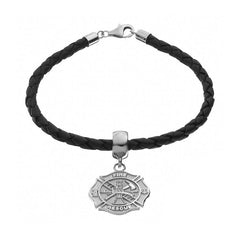 Sterling Silver & Leather Fire Rescue Maltese Cro.925 Sterling Silver Charm Bracelet - Lannan Jewelry