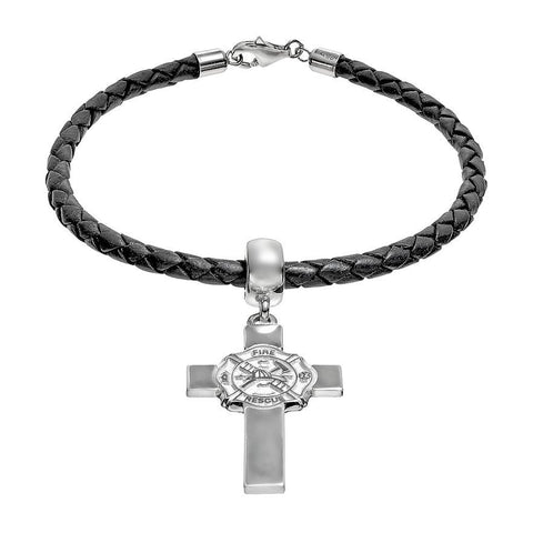 Sterling Silver & Leather Fire Department Maltese Cro.925 Sterling Silver Charm Bracelet - Lannan Jewelry