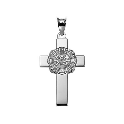 FIRE DEPARTMENT MALTESE CRO.925 Sterling Silver AND CHRISTIAN CRO.925 Sterling Silver PENDANT - Lannan Jewelry - 2