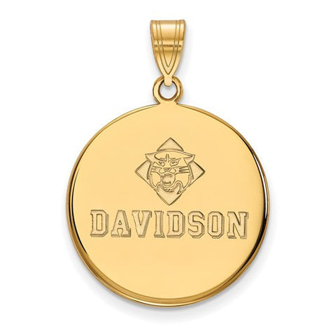 10ky Yellow Gold Davidson College Large Disc Pendant