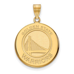 10ky Yellow Gold Golden State Warriors Large Disc Pendant - Lannan Jewelry