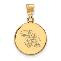 10ky Yellow Gold University of Kansas Medium Disc Pendant - Lannan Jewelry