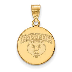 10ky Yellow Gold Baylor University Medium Disc Pendant - Lannan Jewelry