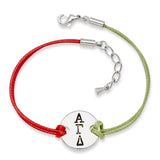 ALPHA GAMMA DELTA DISC BRACELET RED AND GREEN - Lannan Jewelry
