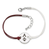 ALPHA PHI DISC BRACELET MAROON AND WHITE - Lannan Jewelry