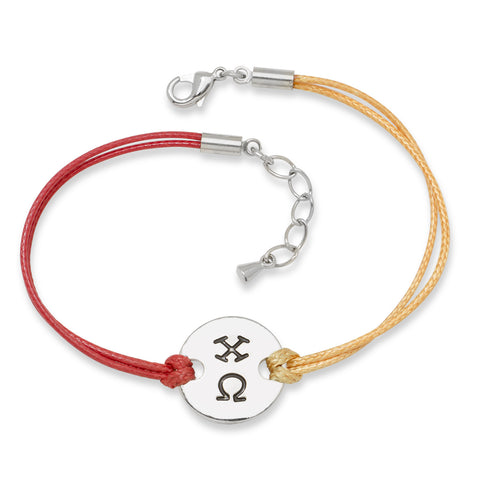 CHI OMEGA DISC BRACELET RED AND YELLOW - Lannan Jewelry