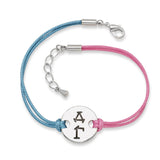 DELTA GAMMA DISC BRACELET PINK AND BLUE - Lannan Jewelry