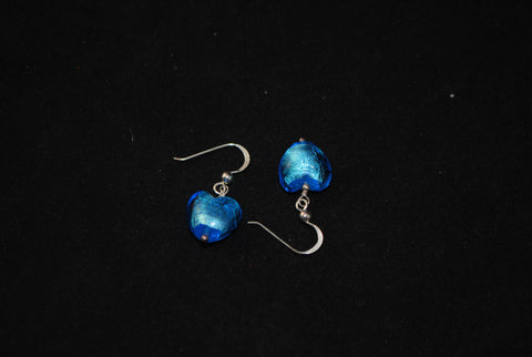 Sky blue sterling silver and Italian gla.925 Sterling Silver earrings - Lannan Jewelry