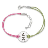 DELTA ZETA DISC BRACELET PINK AND GREEN - Lannan Jewelry