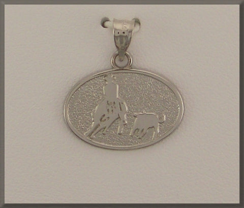RIDER ON CUTTING HORSE WITH COW IN DISC - Lannan Jewelry