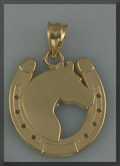 ARABIAN HEAD IN HORSE SHOE PENDANT - Lannan Jewelry