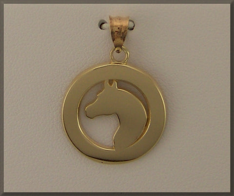 HORSE JEWELRY PIERCED ARABIAN HEAD IN DISC PENDANT - Lannan Jewelry