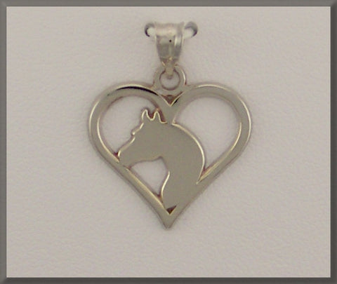 HORSE JEWELRY ARABIAN HEAD IN HEART PIERCED PENDANT - Lannan Jewelry