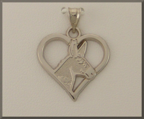 EQUESTRIAN JEWELRY MULE HEAD IN PIERCED HEART PENDANT - Lannan Jewelry