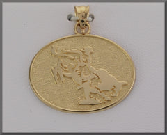 EQUESTRIAN JEWELRY COWBOY ON BUCKING BULL DISC PENDANT - Lannan Jewelry