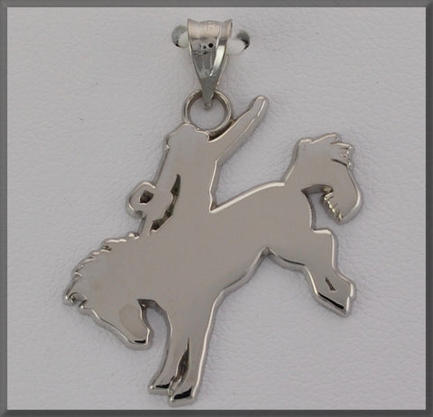 HORSE JEWELRY BRONCO RIDER SILOUETTE PENDANT - Lannan Jewelry