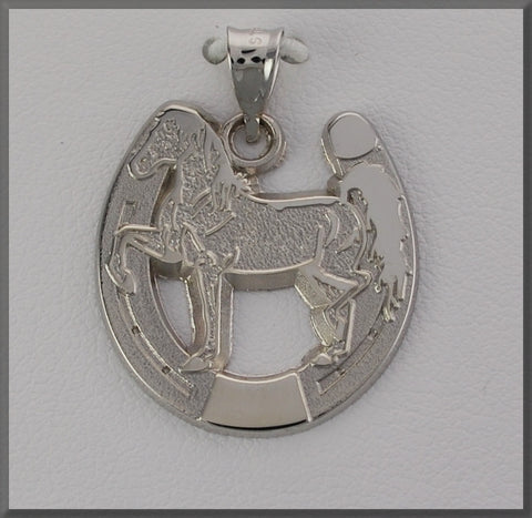 HORSE JEWELRY FANCY WALKING HORSE IN HORSE SHOE - Lannan Jewelry