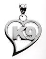 HEART WITH K9 PENDANT - Lannan Jewelry