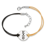 KAPPA ALPHA THETA DISC BRACELET BLACK AND GOLD - Lannan Jewelry