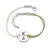 KAPPA DELTA DISC BRACELET GREEN AND WHITE - Lannan Jewelry