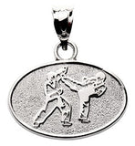 FIGHTER BLOCKING KICK IN OVAL DISK PENDANT - Lannan Jewelry
