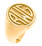 14ky Yellow Gold yellow gold gents 3 initial monogram ring - Lannan Jewelry