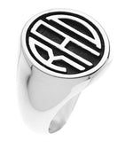 Sterling Silver gents 3 initial monogram ring - Lannan Jewelry