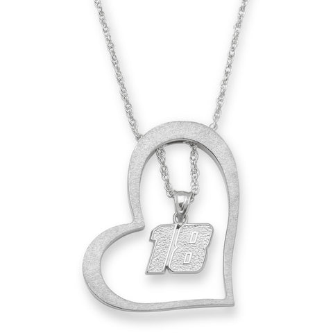 KYLE BUSCH STAINLESS STEEL HEART WITH DRIVER NUMBER 18 PENDANT - Lannan Jewelry