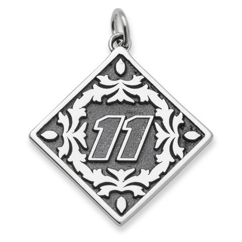 DENNY HAMLIN DRIVER NUMBER 11 STAINLESS STEEL BALI TYPE PENDANTWITH FLORAL LEAF PATTERN - Lannan Jewelry