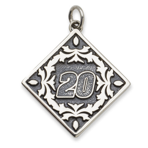 MATT KENSETH STAINLESS STEEL PENDANT WITH BALI FLORAL PATTERN DRIVER NUMBER 20 - Lannan Jewelry