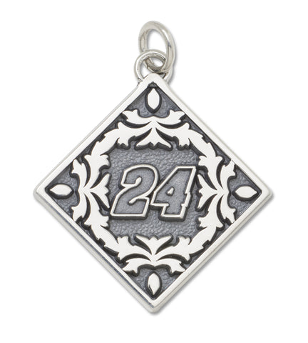 JEFF GORDON STAINLESS STEEL BALI TYPE PENDANT WITH FLORAL DESIGN - Lannan Jewelry