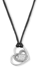 STAINLE.925 Sterling Silver STEEL #18 KYLE BUSCH  PIERCED HEART WITH DRIVER NUMBER PENDANT - Lannan Jewelry
