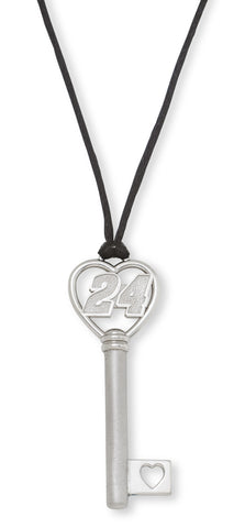 JEFF GORDON STAINLESS STEEL HEART KEY WITH DRIVER NUMBER 24 PENDANT - Lannan Jewelry