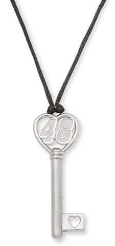 JIMMIE JOHNSON STAINLESS STEEL HEART KEY WITH DRIVER NUMBER 48 PENDANT - Lannan Jewelry