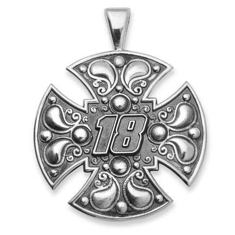 KYLE BUSCH STAINLESS STEEL LARGE MALTESE CROSS WITH DRIVER NUMBER 18 - Lannan Jewelry
