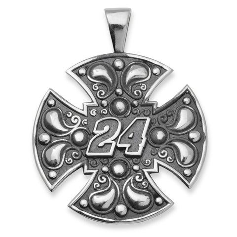 JEFF GORDON STAINLESS STEEL MALTESE CROSS PENDANT WITH DRIVER NUMBER 24 - Lannan Jewelry