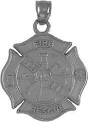 Maltese cro.925 Sterling Silver Fireman center Sterling silver pendant - Lannan Jewelry