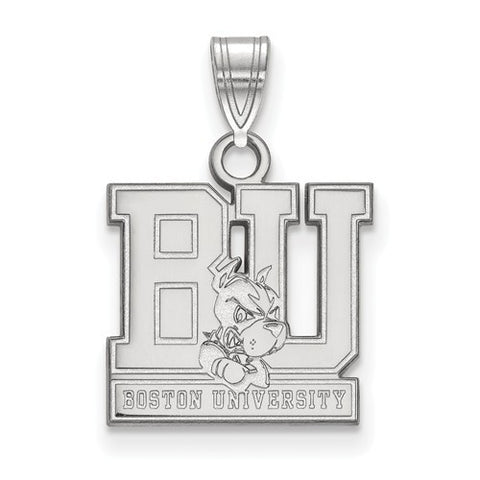 10kw White Gold Boston University Small Pendant